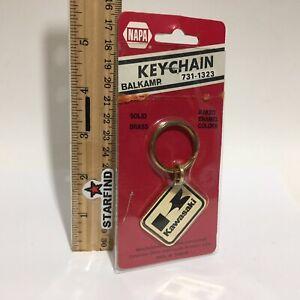 Napa-Balkamp-KAWASAKI-Keychain-VINTAGE-Brass-Enamel-Metal-Key-Chain-Ring-SEE
