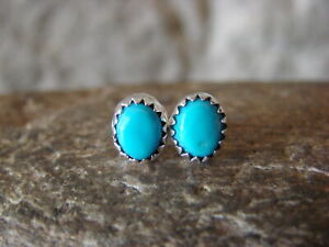 Native-American-Indian-Jewelry-Sterling-Silver-Turquoise-Dot-Post-Earrings