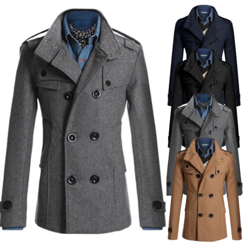 WOOL Men Formal Coat Double Breasted Overcoat Long Winter Warm Jacket NEW LOT