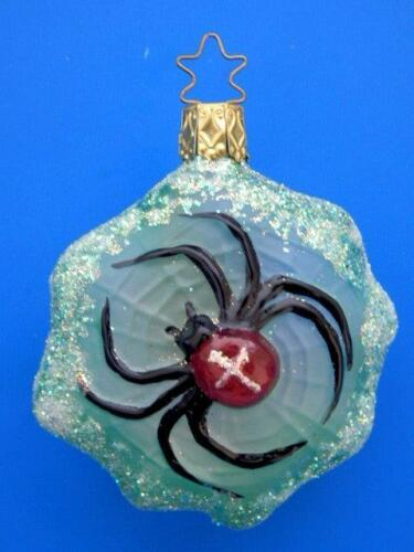 INGE GLAS GREEN HALLOWEEN BLACK WIDOW SPIDER GLASS CHRISTMAS TREE ORNAMENT