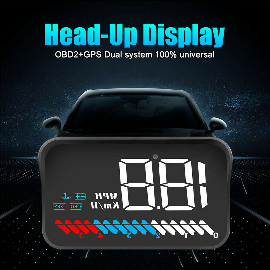 Heads Up Display Universal Car Speeding Limit Warning Display Car HUD Support Mileage Measurement,Water Temperature,Voltage