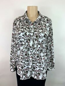 Ann-Taylor-LOFT-Shirt-Blouse-women-white-pink-floral-long-sleeve-sz-large-petite
