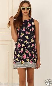 Floral-Navy-Shift-Dress-Lined-S-8-10-12-14-L-Spring-Sundress-Botanical-Prints