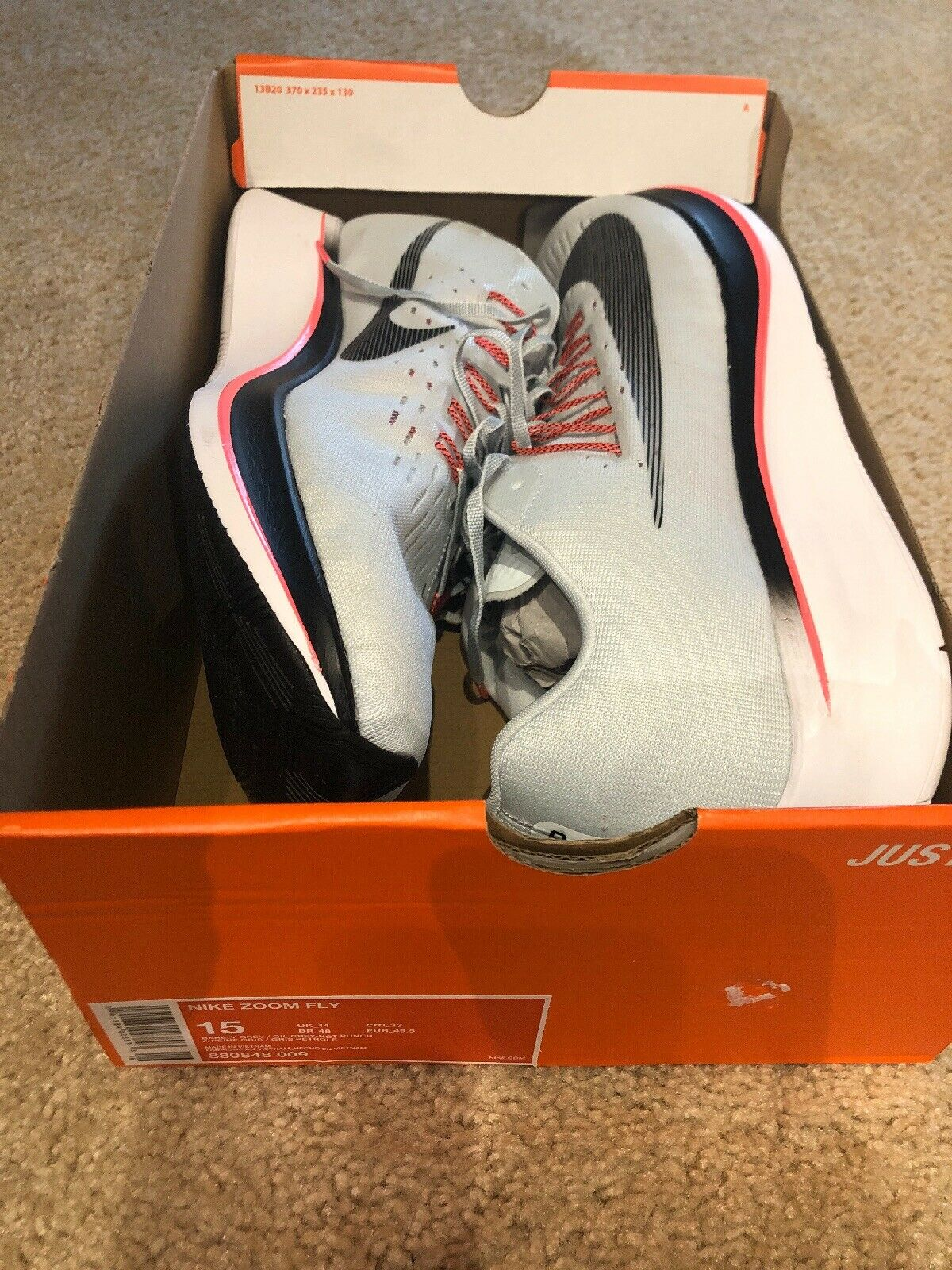 Nike Zoom Fly Grey Hot Punch White Men's Running shoes 880848-009 Size 15