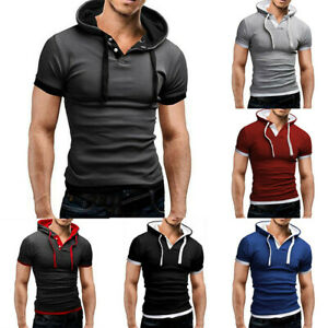 Slim-Men-039-s-T-shirt-Hoodies-Muscle-Tee-Short-Fit-Sleeve-Tops-Shirts-Casual-Hooded