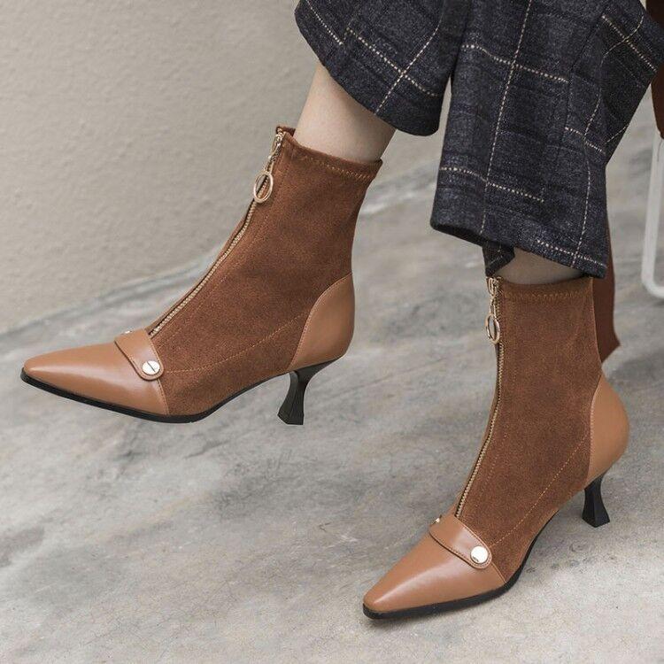 Nouveau Femmes Rétro Stilettos Faible Talons Cheville Bottes Fermeture Éclair Hiver bout pointu et chaussures v88