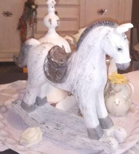 Schaukelpferd Pferd Deko Christmas Weihnachten Shabby Vintage Landhaus 10x4x9cm