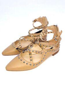 Zara Chair Ballerines Plat Clouté Chaussures Taille UK4 EUR37 US6.5