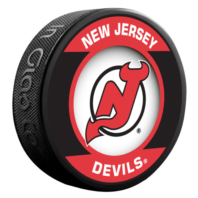 "NEW JERSEY DEVILS ""Retro"" Series Team Logo Model SOUVENIR PUCK NEW In Glas Co"