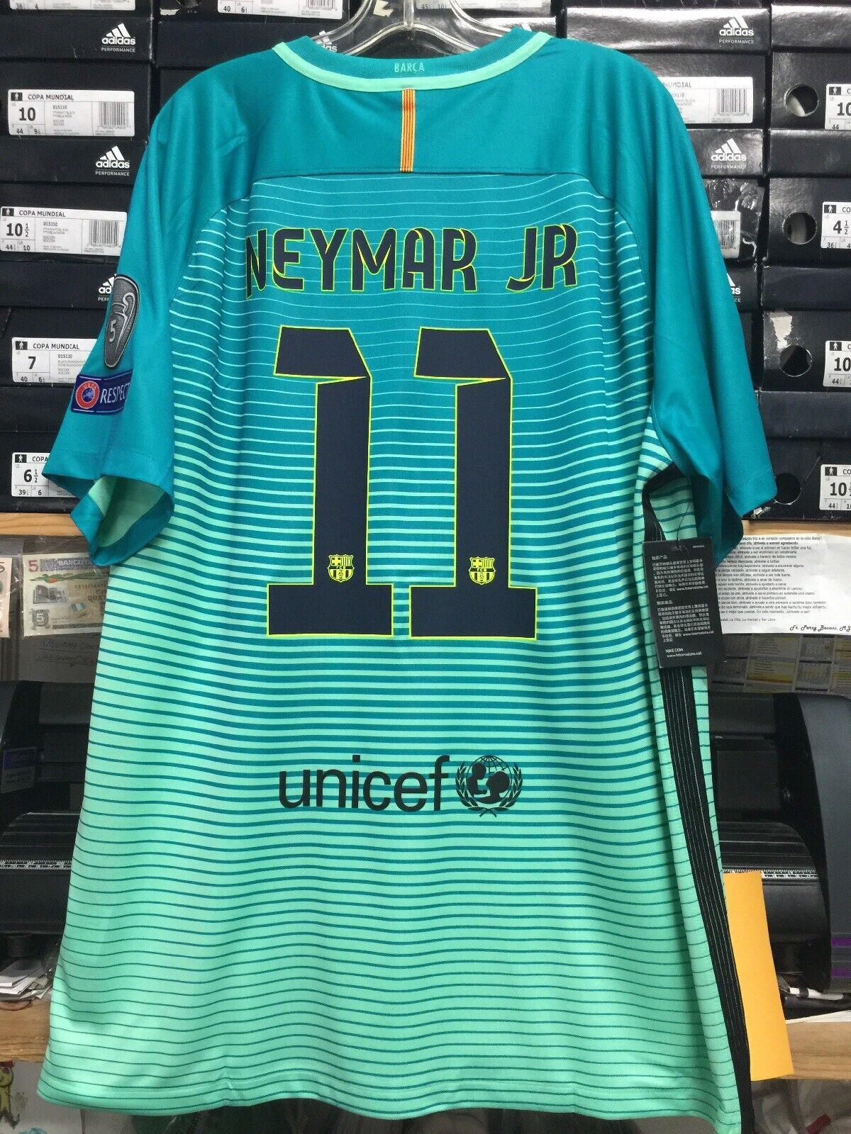 Nike Fc Barcelona Third Jersey 16 17 Mint Green Neymar Jr 11 Size Xxl Only For Sale Online