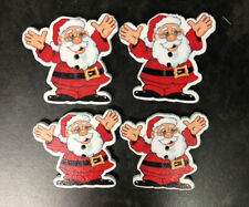 25 WOODEN SANTA CLAUS CHRISTMAS BUTTON CARD MAKING CRAFT SEWING EMBELLISHMENTS
