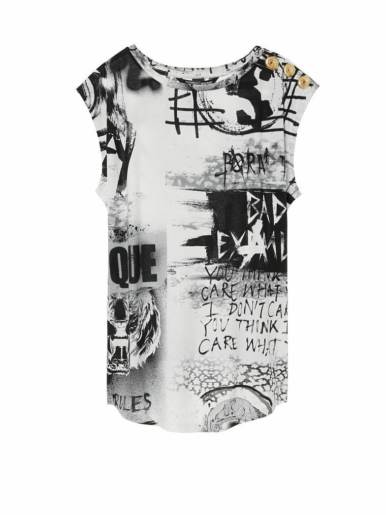 VICTORIA'S SECRET x Balmain Fashion Show Graphic OverGrößed Tee Weiß Graffiti M