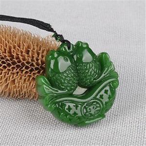 Lucky Amulet China Green jade 年年有余鱼 jade pendant Necklace stone Carving jewelry