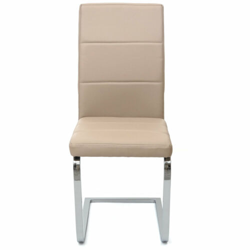 B-Ware 6x Dining Chair MCW-F27, Cantilever, Faux Leather Chrome Cream