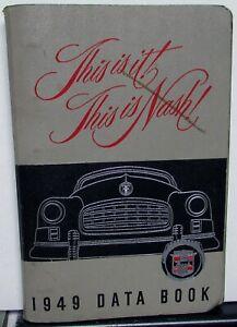 1949 Nash Shop Manual 49 Ambassador and 600 Repair Service