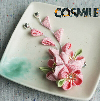 Handwork Pink Sakura Hairpin Clip Brooch Hair Accessory Japanese for Kimono Sa K
