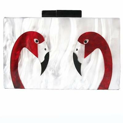 Women's Clutch Evening Bag Marble Acrylic Flamingo Print Graphic Clutch