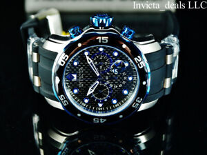Invicta-Men-039-s-48mm-Pro-Diver-Scuba-Chronograph-Black-amp-Blue-Dial-Silver-SS-Watch