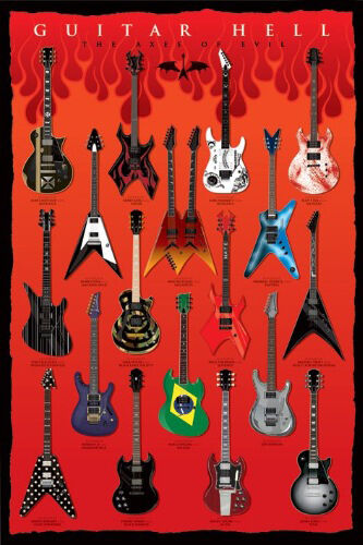 PICTURE PRINT NEW ART LAMINATED 61X91CM GUITAR HELL AXES OF EVIL POSTER