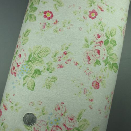 100/% Cotton Fabric Linen Floral Rose Medium Weight Extra Wide