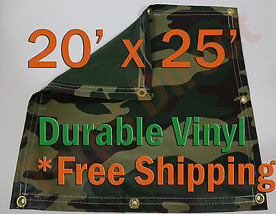 Energetic 20' X 25' Heavyweight Vinyl Camo Camouflage Tarp Ground Cover Blind Hunting Garden Structures & Shade Other Structures & Shade