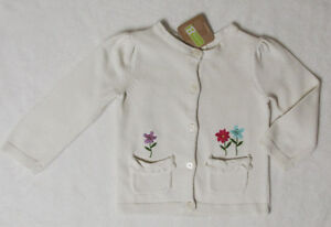 NWT 2T Crazy 8 Ivory Cream Flowers Pocket Front Cardigan Sweater