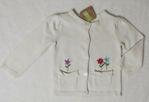 NWT 3T 3 Crazy 8 Ivory Cream Flowers Pocket Front Cardigan Sweater