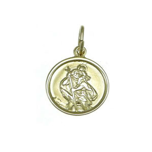 Childrens light weight 9ct gold st saint christopher pendant image is loading childrens light weight 9ct gold st saint christopher aloadofball Choice Image