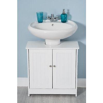 White Wood Under Sink Cabinet Cupboard Door Wooden Shelf Storage Unit Bathroom