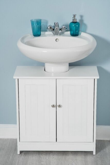 Wondrous White Wood Under Sink Cabinet Cupboard Door Wooden Shelf Storage Bathroom Home Interior And Landscaping Ologienasavecom