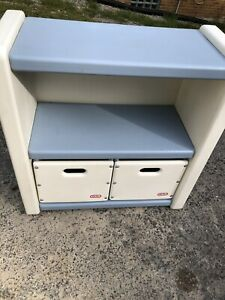 Vintage Little Tikes Blue White Bookshelf Child Size Book Case 2