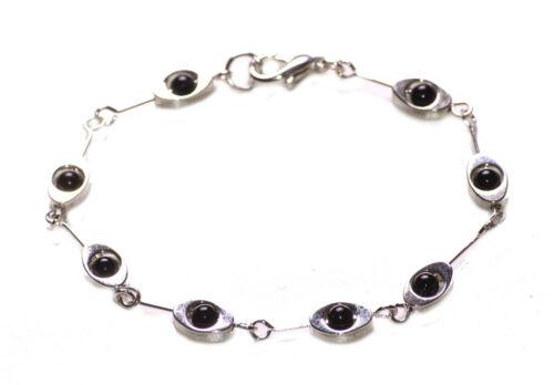 Enigmatic /& Gorgeous Black Ball /& Chrome Eye Chain Metal Hand Bracelet Zx253