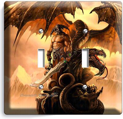 Dragon Viking Warrior Sculls 2 Gang Light Switch Wall Plate Boys Room Home Decor Ebay