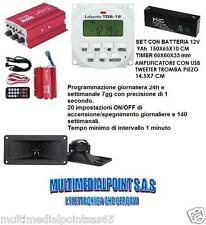 AMPLIFICATORE USB PLAYER TIMER TDS-12 V BATTERIA 12V 2,3A RICARICABILE TROMBA