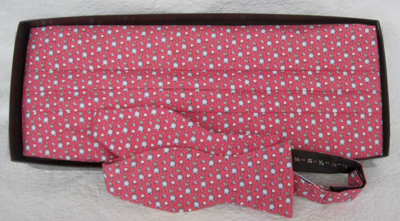 Vineyard Vines 2pcs Cummerbund & Bow Tie SET HAPPY HOUR Rosy Pink Original Box