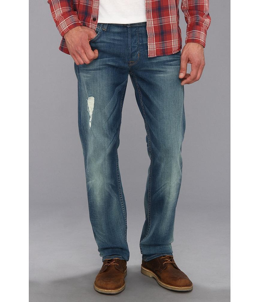 Hudson Byron Men's Straight Leg Jeans in Grunge MADE in USA NEW 33x34