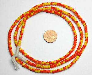 Strang gelb schwarz gestreifte Glasperlen Seed Beads aus Ghana Trade Beads 3mm