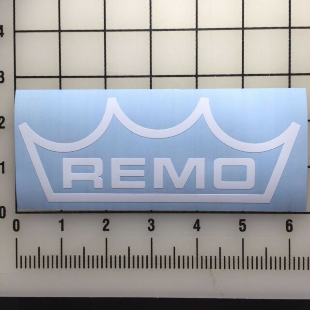 "BOGO Remo Drums Logo 6/"" Wide White Vinyl Decal Sticker"