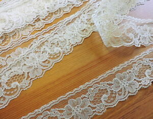 IVORY-LACE-2-FLAT-IVORY-FLoRAL-LACE-10yds-TRIM-WEDDING-CRAFT