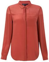 French Connection Classic Silk Red Shirt Blouse Red Elderberry Size 6 £87