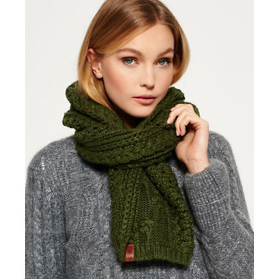 New Womens Superdry North Cable Scarf Olive