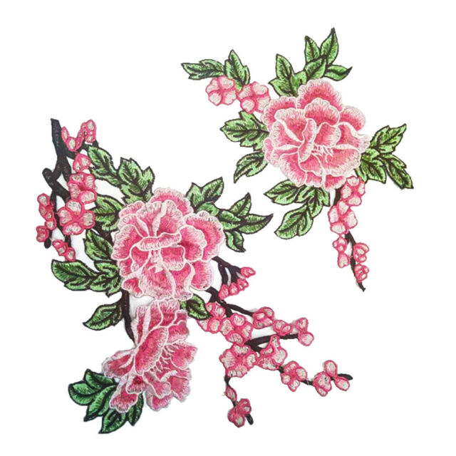 2x Embroidered Floral Applique For Clothing Sew On Patches DIY Sewing Craft