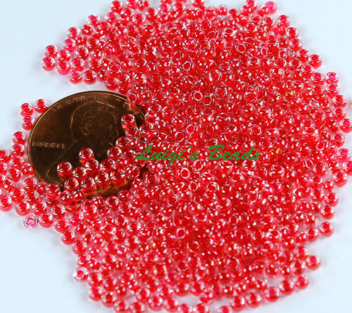 11//0 Round TOHO Japanese Glass Seed Beads #355-Crystal//Siam Ruby Lined 10g