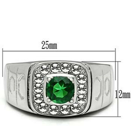 Round Shape Emerald Green Stone Silver Stainless Steel Mens Crystal Ring