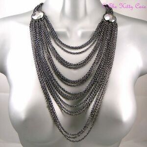 Deco-Chic-Hematite-Grey-Gray-Multi-Strand-Tiered-Draping-Catwalk-Chains-Necklace