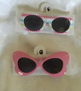 GYMBOREE SPICE MARKET PINK BUTTERFLY SUNGLASSES w// GEMS 0 2 NWT