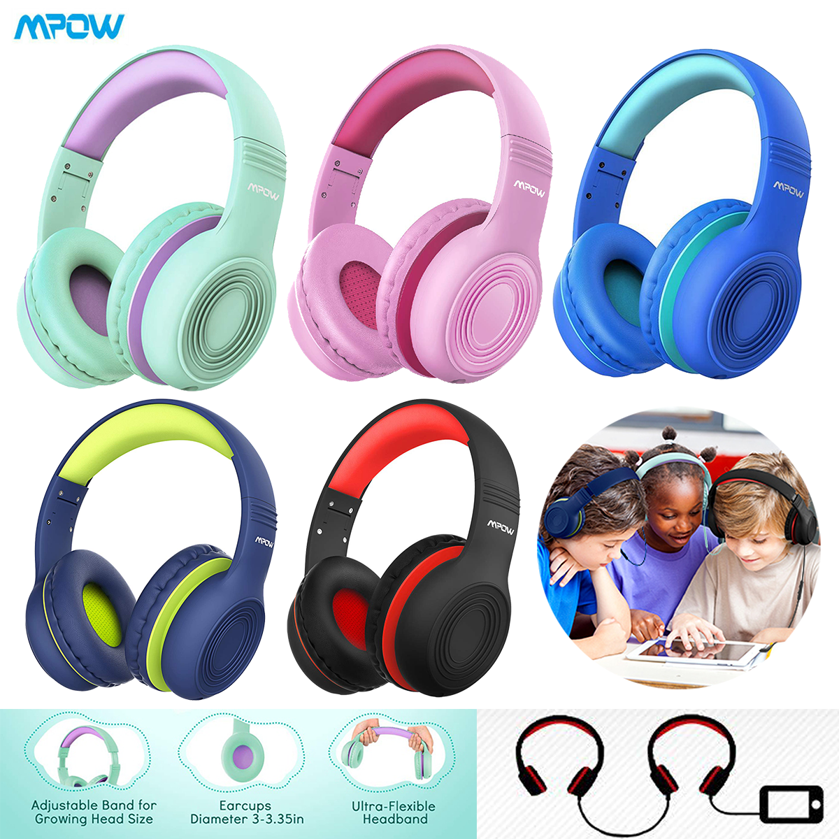 Mpow Kids safe Over-ear Headphones Headset w/Mic for Baby to