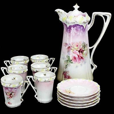 Antique Porcelain Chocolate pot, 6 cups, 5 saucers, Pink, Florals, Gold Trim