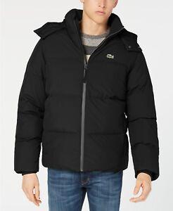 NEW-LACOSTE-Men-039-s-Ski-Detach-Hood-Quilted-Down-Puffer-Taffeta-Jacket-Black