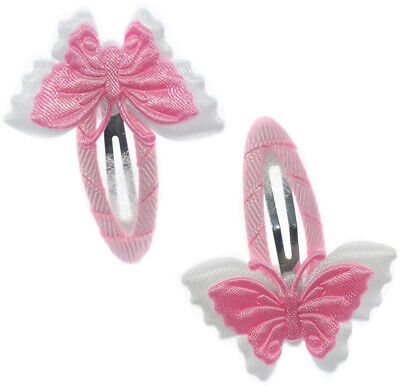 Hair Accessories Knowledgeable Haarspangen Haarclips Baby & Kinder Taufe Weiß Rosa Schmetterling 2 Stück Clients First